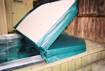 We taper the edges of our hot tub covers to shed water