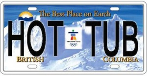 Hot tub license plate